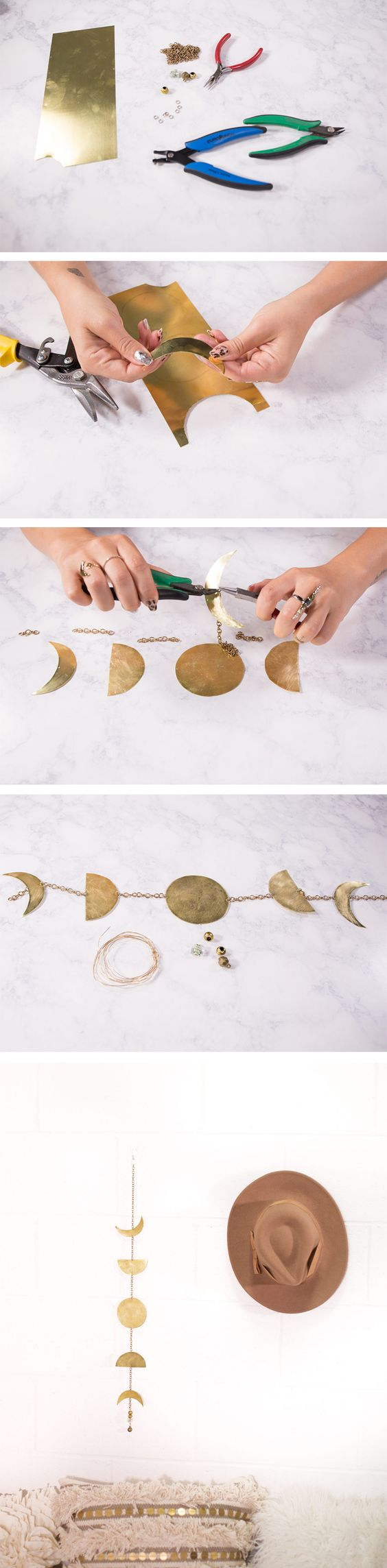 Sheet metal from the craft store & some basic jewelry making supplies are all you need to string together this lovely #DIY lunar home decor!