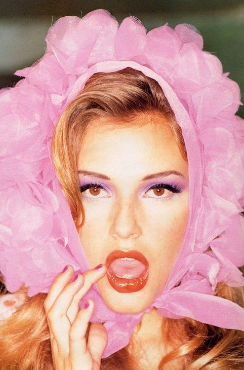 Bridge Hall in Pink Bonnet Scarf, Retro, 50's Editorial | UK Vogue June 1995 | Photo Ellen von Unwerth