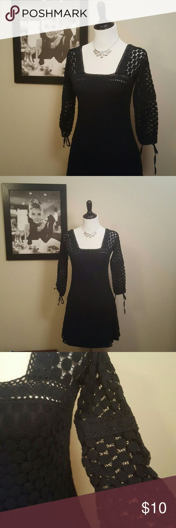 Little Black Dress♥ Lace or crochet like design over a black slip. Ties at the 3/4 length sleeves Buttons in the back, square neck line. Good condition. No trade Make an offer! solitaire  Dresses Mini