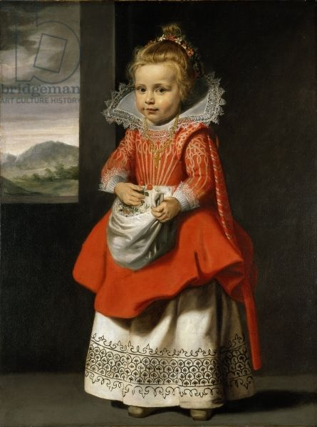 Portrait of the artist's daughter, Magdalena de Vos, c.1623-24 (oil on canvas) creator Vos, Cornelis de (1585-1651) nationality Flemish description Magdalena de Vos (bapt.1618); formerly attributed to Velazquez; formerly entitled 'Portrait of a young girl (in red)'; location Chatsworth House, Derbyshire, UK medium oil on canvas date 17th (C17th) dimensions