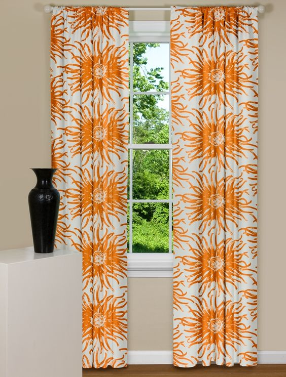 Modern Floral Curtains in Thomas Paul Dahlia Flowers Aegean ...