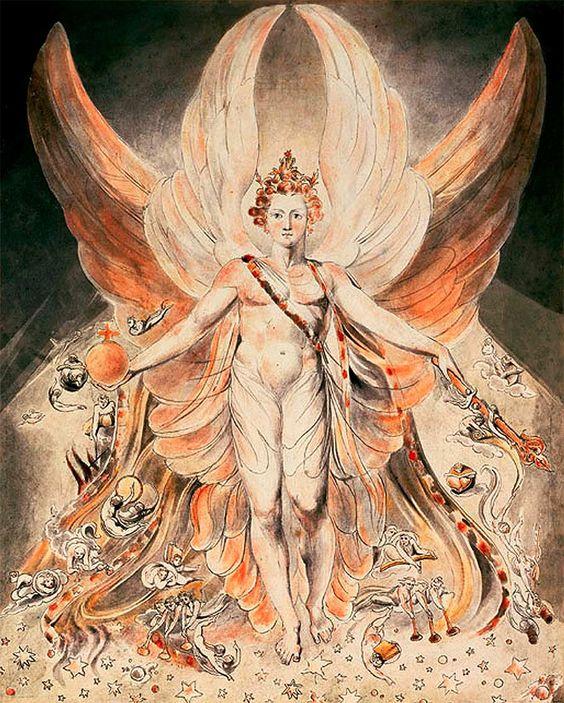 El verdadero origen de Lucifer es principesco, angélico y rebelde como se ve en esta pintura de William Blake