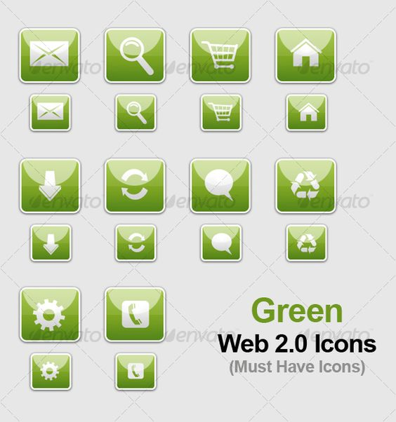 Green web 20 icons green web icons and icon set sciox Choice Image