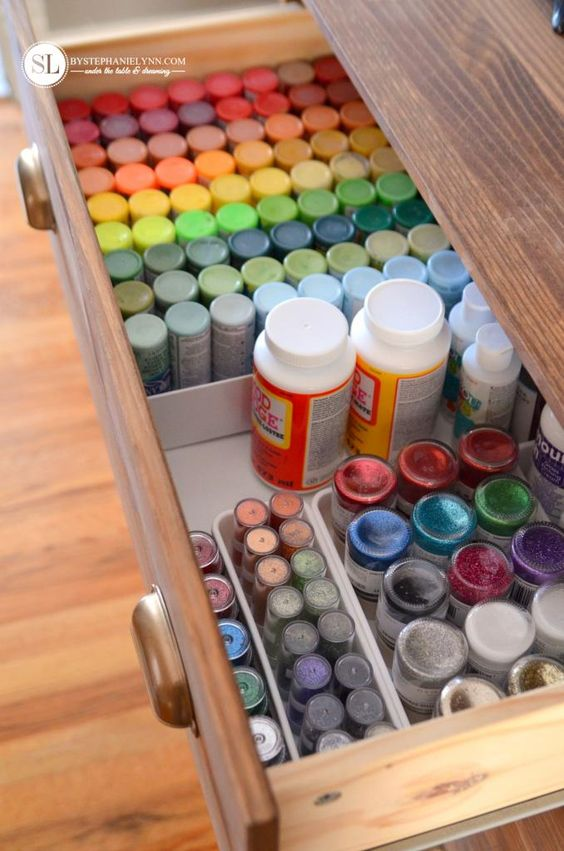 """- Craft Supplies Storage Ideas - I have a """"dresser"""" made out of our old waterbed drawers stacked on top of each other. Next step is to organize inside the drawers"""