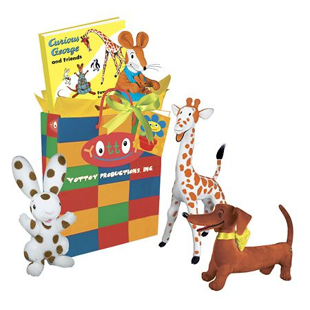 """Big World of H.A. Rey    Travel back in time with YOTTOY World of H.A. Rey Gift Pack! Comes complete with our 14"""" Pretzel, 10"""" Katy No-Pocket, 12"""" Spotty, 12"""" Cecily G., 9.5"""" Whiteblack and Curious George & Friends Hardcover Book. Beautifully packaged in our colorful gift bag with daffodil yellow tissue, a bright green satin ribbon and hand-written personalized YOTTOY card to leave a lasting impression.    Item #5214  $125.00"""