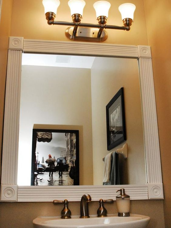 Dress Up Your Bathroom Mirror By Adding Molding Around The Edge Of The Mirror Bathroom