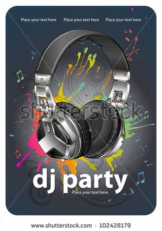 Headphones. Party flyer design