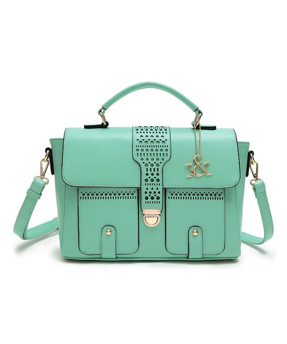 Loving this Hue & Ash Mint Perforated Fold-Over Satchel on #zulily! #zulilyfinds