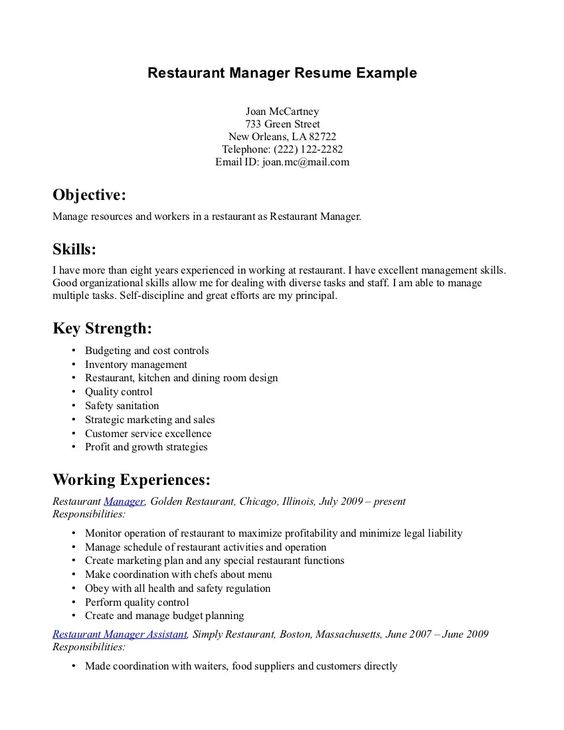 Restaurant manager, Resume examples and Resume on Pinterest