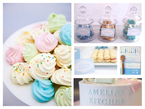 Party food, meringues, melting moments, cake, invitation