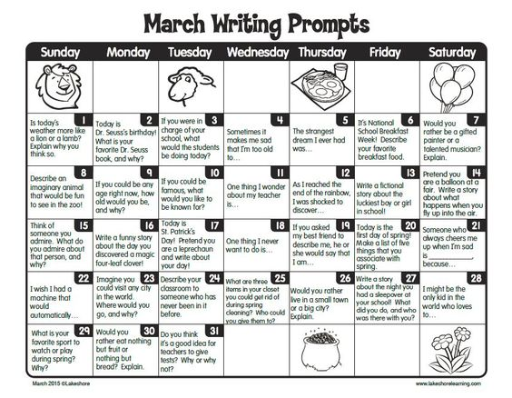 free printable march writing prompts calendar perfect for