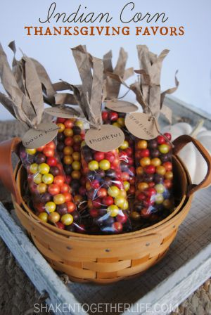 Indian Corn Thanksgiving Favors - an awesome holiday favors tutorial from the Shaken Together blog. I know Thanksgiving tends to get overlooked, but I love watching the Macy's Thanksgiving Day parade, splurging on a great breakfast and then heading to the kitchen to cook. Since we are heading out to be with family for dinner this year, I thought this Thanksgivings food craft DIY would be a fun hostess gift to bring. Click on the photo to get the directions.