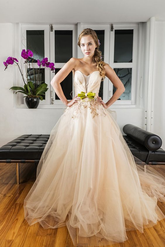 f494ab4a39532 peach wedding dress with bow an interview with the gown warehouse a giveaway