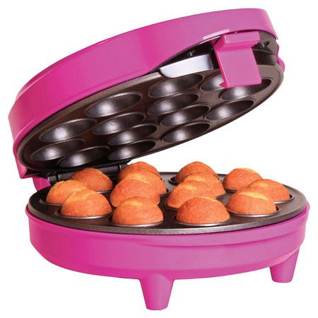 Whip up delectable desserts with this vibrant cake bites maker, showcasing non-stick coating and space for 14 treats.  Product: ...