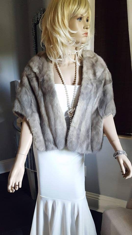 Sapphire MINK /& Norwegian FOX Fur Stole Cape ~ Gray White Capelet ~ Real Fur Bridal Bolero Shawl Jacket ~ Winter Wedding Luxury ~ Cerulean