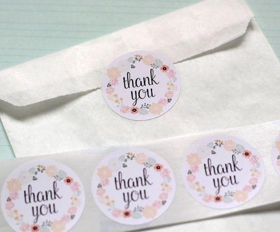 etiquettes autocollantes rondes thank you couronne de fleurs x12 blanc - Tiquettes Autocollantes Mariage