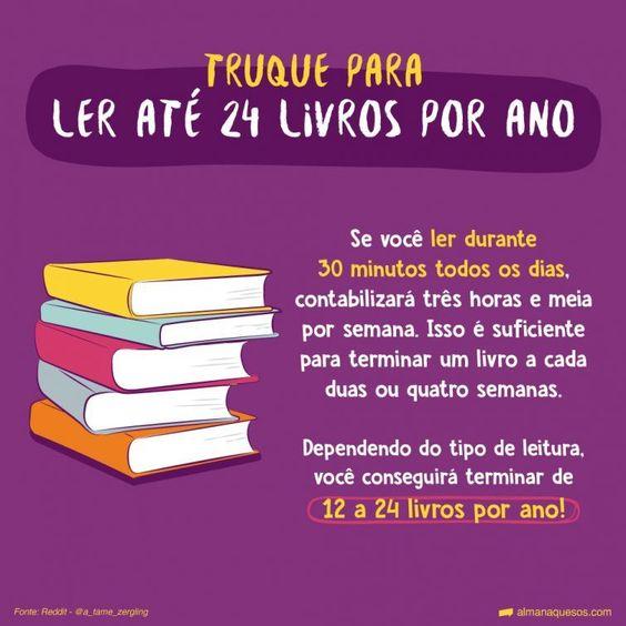 """Truque para ler até 24 livros por ano """"Se você ler durante 30 minutos todos os dias, contabilizará três horas e meia por semana. Isso é suficiente para terminar um livro a cada duas ou quatro semanas. Dependendo do tipo de leitura, você conseguirá terminar de 12 a 24 livros por ano!"""" Fonte: Reddit - @a_tame_zergling"""