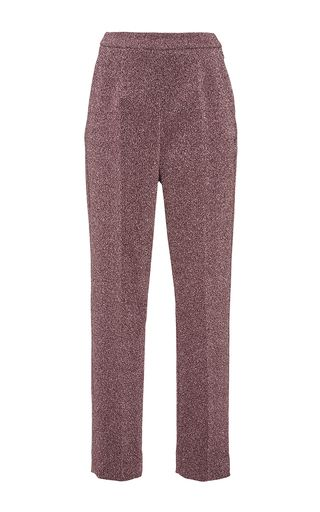 Silver Pink Lurex Slim Tailored Pants by ISA ARFEN Now Available on Moda Operandi:
