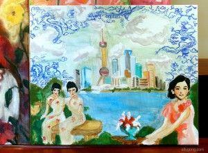 Ally Gong's art! Shanghai, old and new :) Medium: Acrylic