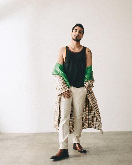 mode trend; ruitjes regenjas en magnanni schoenen