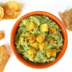 Guacamole with grilled pineapple chunks
