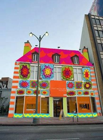 yarn bombing project at Craft and Folk Museum in LA.: