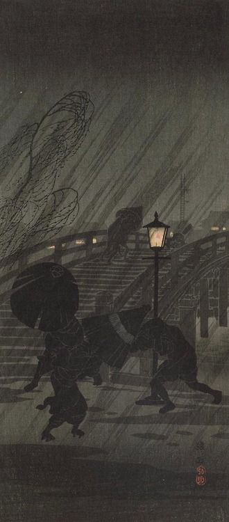 """Sudden Rain""; Takahashi, Shotei (Japanese, 1871-1945) Museum of Fine Arts, Boston"