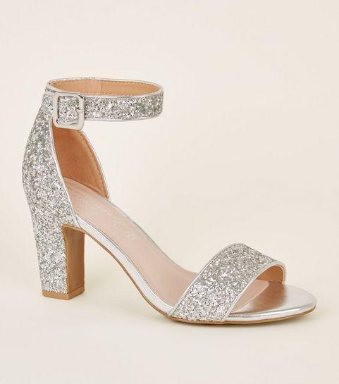 silver glitter low block heels