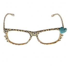 LEOPARD PRINT YELLOW EYEGLASSES WITH BLUE HEART, WHISKERS & CASE - NO LENS