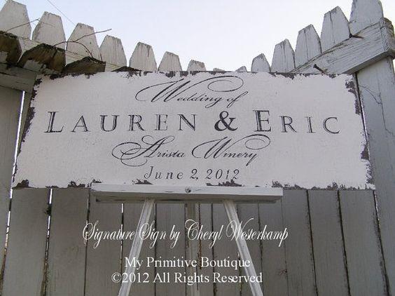 Custom VINTAGE WEDDING SIGN, Shabby Chic Wedding Sign, 30 x 12, Est. Sign,  Anniversary Sign, Signature Sign by Cheryl Westerkamp by belladonna