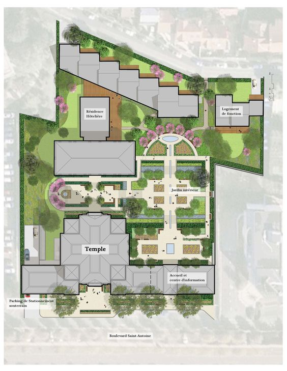 Temple Mormon Paris - Détails du projet du temple LDS    Cool layout image. So excited for this temple.