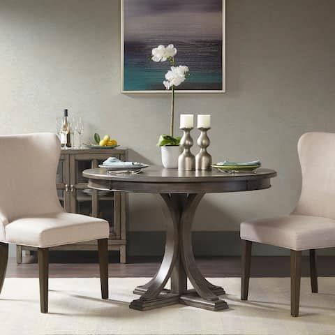 Madison Park Signature Helena Grey Round Dining Table Dia 45 X 30 25 H Grey Round Dining Table Round Dining Room Table Grey Dining Tables