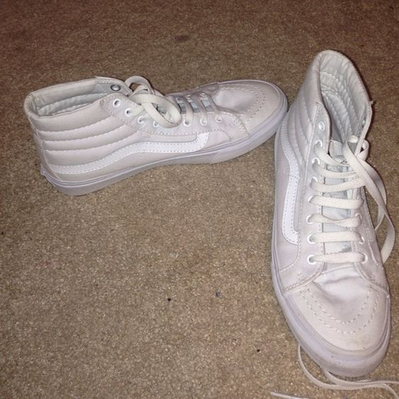 Vans sk8-hi slim (true white) women 7.5, men 6.0. never worn, I bought them at the vans store and never wore them. perfect condition. I can go lower if needed Vans Shoes