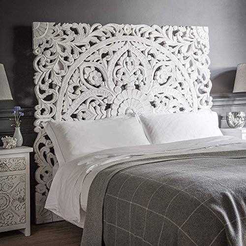 Amazon Com Queen Size Boho Carved Wood Bed Headboard Hand Sculpted Wall Art Hanging From Chiang Mai In 2020 Carved Headboard Headboards For Beds White Wood Headboard