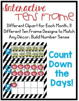 Looking for a fun, seasonal way to countdown the days of school on a tens frame?  I've included 11 different design themes and color schemes so there's sure to be something to match your decor!  Use the tens frames in your calendar area to count down the days of school while building number sense.