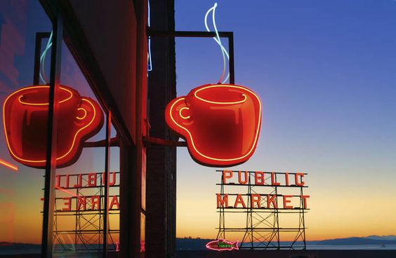 """Seattle Coffee"" by Inge Johnsson, Frisco (Dallas/Fort Worth area) // Neon sign in the coffee loving city of Seattle // Imagekind.com -- Buy stunning, museum-quality fine art prints, framed prints, and canvas prints directly from independent working artists and photographers."