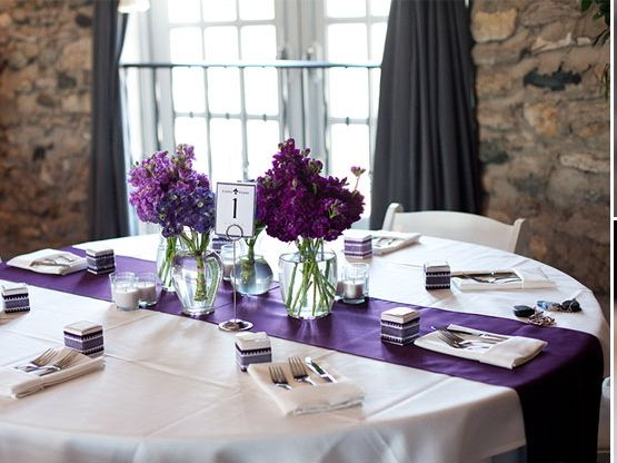 Simple and eclectic centerpiece of purple hydrangea