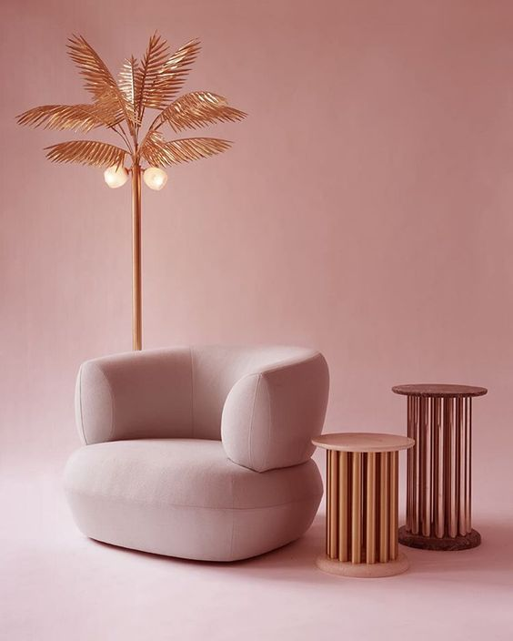 PINK CHAIR  moder furntiure decor ins soft pink and brass shades.   www.bocadolobo.com/ #modernchairs #chairideas