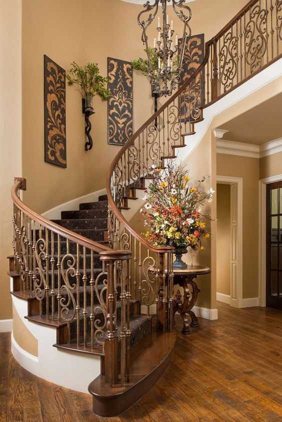 Beautiful Tuscan Staircase | Wesley-Wayne Interiors ᘡղbᘠ
