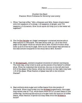 math worksheet : number the stars fraction word problems for novel by lois lowry  : Addition And Subtraction Of Fractions Word Problems Worksheets