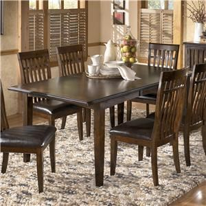 Warm brown finish dining table with 4 bent back chairs for S bent dining room furniture