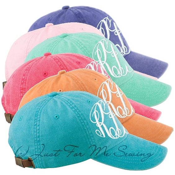 Monogrammed Baseball Hat  Personalized by JustForMeSewing on Etsy, $16.99....love these colors!!!