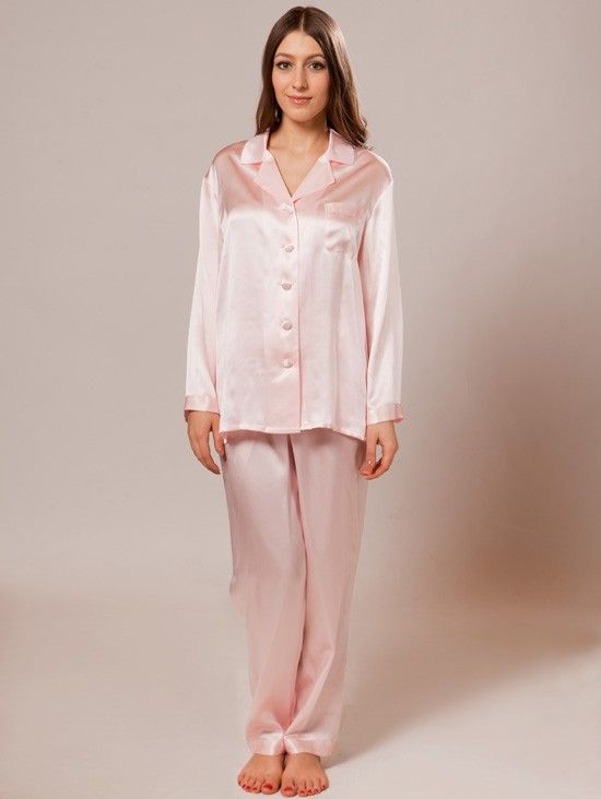 22 momme long classic silk pajama set | Satin, For women and ...