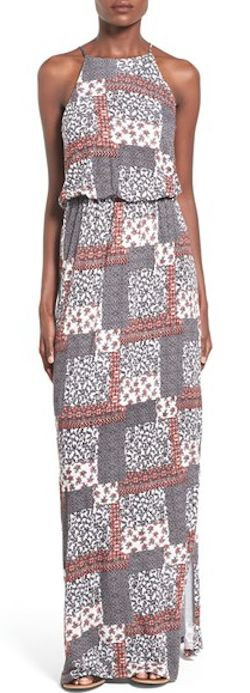high-neck patchwork print dress