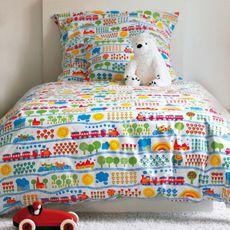 Eisenbahn Bettwäsche-Set - Original Designs von Graziela Preiser auf Bettwäsche, Geschirr, Stoffe, Kinderschlafanzüge und vielem mehr