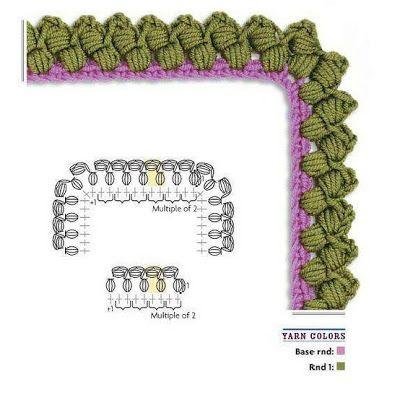 Tejido Facil: Crochet: Border Russian, Chain Stitch, Crochet Borders For Blankets, Crochet Stitches, Crochet Edgings, Crochet Edge, Crochet Pattern