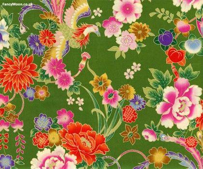 Flower Phoenix Green Oriental Chinoiserie Kokka Cotton Fabric
