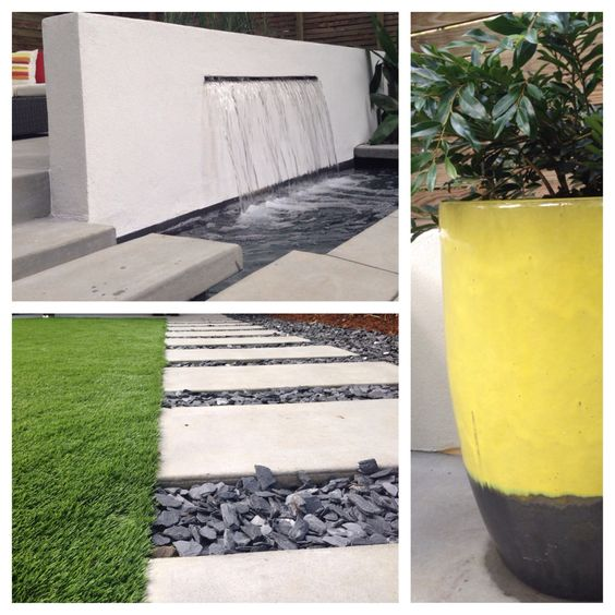 artificial turf and poured concrete pavers