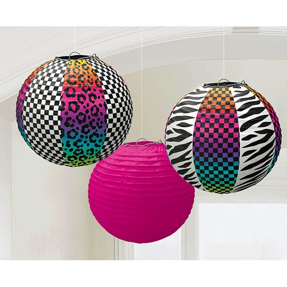 Add some mega fun to your 80s party! The Totally 80s Paper Lanterns are perfect for any wild child! This set of paper lanterns features neon colors and animal stripes for the perfect look! Each packag