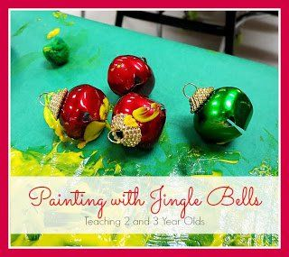 Preschool Christmas Art with Jingle Bells - Teaching 2 and 3 Year Olds